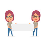 Funny Character Freelancer holds and interacts with blank forms Stock Image