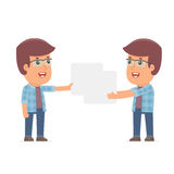 Funny Character Freelancer holds and interacts with blank forms Royalty Free Stock Photos