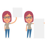 Funny Character Girl Designer holds and interacts with blank forms Royalty Free Stock Photos