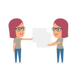 Funny Character Girl Designer holds and interacts with blank forms Stock Photo