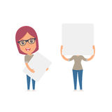 Funny Character Girl Designer holds and interacts with blank forms Stock Photography