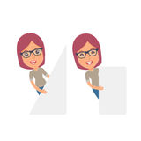 Funny Character Girl Designer holds and interacts with blank forms Stock Images