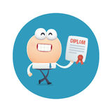 Funny character graduated and received the diploma education Royalty Free Stock Images