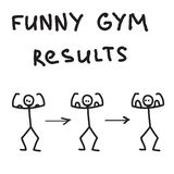 Funny character illustrated gym results Royalty Free Stock Photo
