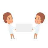 Funny Character Nurse holds and interacts with blank forms or ob Royalty Free Stock Images