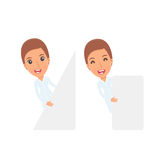 Funny Character Nurse holds and interacts with blank forms or ob Stock Photography