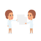 Funny Character Nurse holds and interacts with blank forms or ob Royalty Free Stock Photo