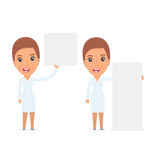 Funny Character Nurse holds and interacts with blank forms or ob Royalty Free Stock Image