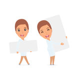 Funny Character Nurse holds and interacts with blank forms or ob Stock Photo