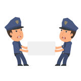 Funny Character Officer holds and interacts with blank forms or Stock Images