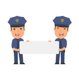 Funny Character Officer holds and interacts with blank forms or Royalty Free Stock Images