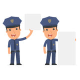Funny Character Officer holds and interacts with blank forms or Stock Image