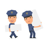 Funny Character Officer holds and interacts with blank forms or Stock Photography