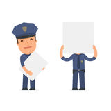 Funny Character Officer holds and interacts with blank forms or Stock Photos