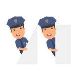 Funny Character Officer holds and interacts with blank forms or Royalty Free Stock Image