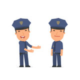 Funny Character Officer introduces his shy friend Stock Photo