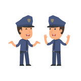 Funny Character Officer tells interesting story to his friend. Poses for interaction with other characters from this series Royalty Free Stock Photography