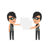 Funny Character Outsider Girl holds and interacts with blank for Royalty Free Stock Image