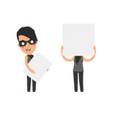 Funny Character Outsider Girl holds and interacts with blank for Royalty Free Stock Photography