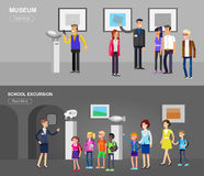 Funny character people in museum Stock Image