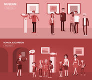 Funny character people in museum Stock Images
