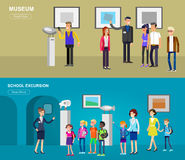 Funny character people in museum Royalty Free Stock Photography