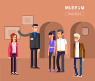 Funny character people in museum Royalty Free Stock Photos