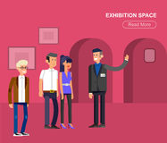 Funny character people in museum Royalty Free Stock Photo