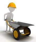 Funny character pushes a wheelbarrow Royalty Free Stock Photo