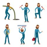 Funny character of repairman or plumber in different poses. Vector mascot design Stock Photos