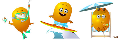 Funny character diver, surfer, tan Stock Photography