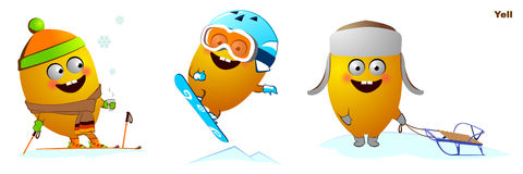 Funny character snowboarder, skier, sleigh. Funny character rests in winter on skiing, snowboarding, tobogganing Stock Photos