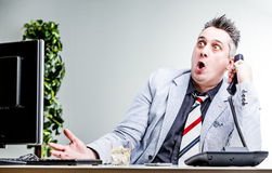 Funny character of shocked businessman Royalty Free Stock Photo