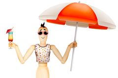Funny character in t-shirt and sunglasses holding umbrella with cocktail. Summer holidays, travel vacation concept. Realistic 3D illustration Royalty Free Stock Photography