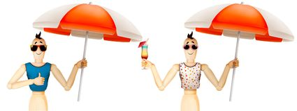 Funny character in t-shirt and sunglasses holding umbrella with cocktail. Summer holidays, travel vacation concept. Realistic 3D illustration Royalty Free Stock Photos