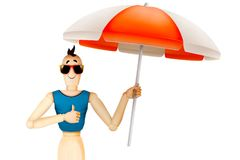Funny character in t-shirt and sunglasses holding umbrella. Summer holidays, travel vacation concept. Realistic 3D illustration stock illustration