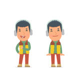 Funny Character Winter Citizen in confident and shy poses Stock Photography