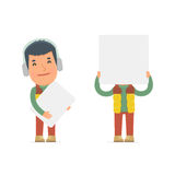 Funny Character Winter Citizen holds and interacts with blank forms Royalty Free Stock Photos