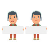 Funny Character Winter Citizen holds and interacts with blank forms Stock Photos