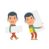 Funny Character Winter Citizen holds and interacts with blank forms Royalty Free Stock Photography
