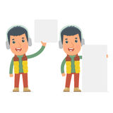 Funny Character Winter Citizen holds and interacts with blank forms Stock Photography