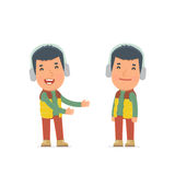 Funny Character Winter Citizen introduces his shy friend Royalty Free Stock Photography