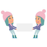 Funny Character Winter Girl holds and interacts with blank forms Royalty Free Stock Photos