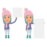 Funny Character Winter Girl holds and interacts with blank forms Stock Images