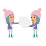 Funny Character Winter Girl holds and interacts with blank forms Stock Photography