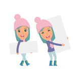 Funny Character Winter Girl holds and interacts with blank forms Royalty Free Stock Image