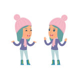 Funny Character Winter Girl tells interesting story to his friend. Poses for interaction with other characters from this series Royalty Free Stock Images
