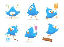 Funny characters of blue birds in action poses. Action bird, and funny animal. Vector illustration Royalty Free Stock Image