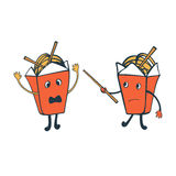 Funny characters. Chinese food boxes fighting Royalty Free Stock Images