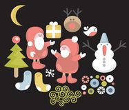 Funny characters for Christmas design. Stock Image